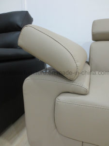 Wk-F2014 L Shaped Leather Home Sofa with Adjustable Headrest pictures & photos