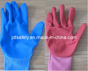 Colorful Nylon Knitted Work Glove with Sandy Nitrile Dipping (N1558C) pictures & photos