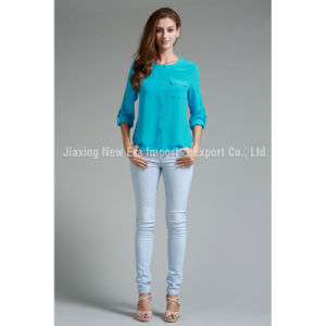 Ladies′ Poly and Spandex Breast Pocket Blouse