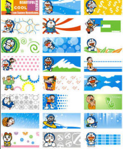 Xiao Xiong Doraemon Cartoons Name Stickers