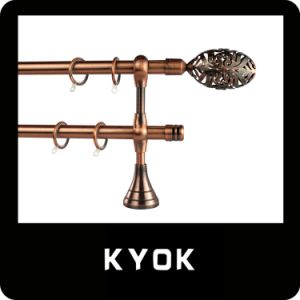 Hot Sale High Quality 19mm Antique Copper Plating Iron Curtain Rod with Accessories (KY5)