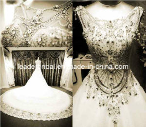 Crystals Bridal Ball Gowns Cathedral Lace Wedding Gowns H13904 pictures & photos