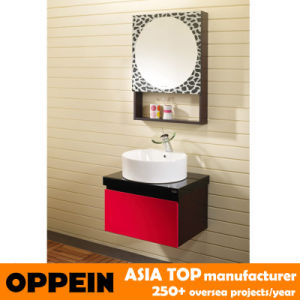 Oppein Modern Cherry Red Oak Bathroom Vanity Cabinet (OP-P1130) pictures & photos