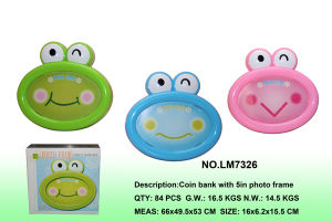 "5"" Frog Saving Box Photo Frame Home Decoration"