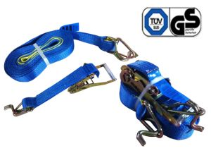 Ratchet Tie Down with Double J Hook with Keeper (EN12195-2)