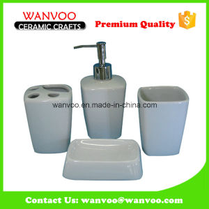 Square Good Quality White Ceramic Bath Accessories with Lotion Dispenser Soap Dish pictures & photos