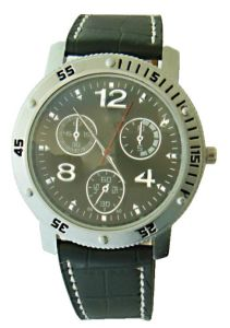 Alloy Watch With Leather Straps (AW-3013)