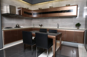 Contemporary High Gloss Brown MDF Baked Paint Kitchen Cupboards pictures & photos