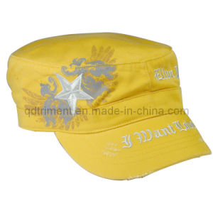 Grinding Washed Printing Embroidery Army Military Hat (TRNM016) pictures & photos
