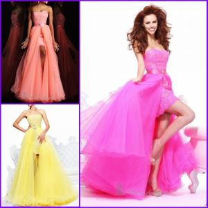 New Prom Dress/Lace Tulle Hi-Low Party Dresses/Fuchia Orange Yellow Coral Evening Dress (E272)