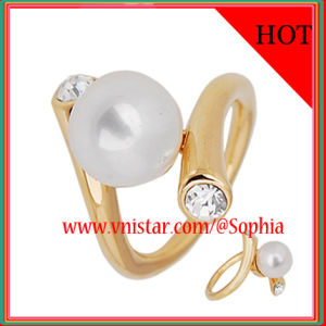 Fashion Pearl Rings in Gold Plated (R017G-1)