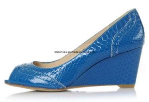 Blue Peeptoe Wedges with Heel Height