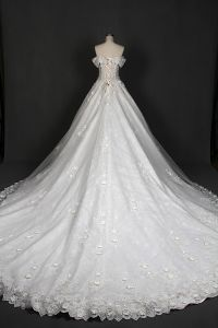 Ivory Lace Prom Ball Bridal Dresses Wedding Gown Qh66003 pictures & photos