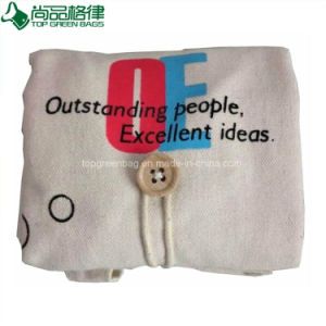 Organic Natural Foldable Cotton Canvas Shopping Bag with Hang Loop pictures & photos