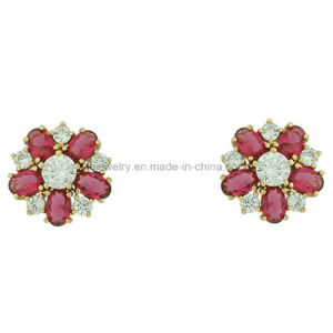 Costume Jewelry Fashion Style Earrings Copper Flower Ear Stud (KE3153) pictures & photos