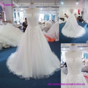 160616 Wholesale Fashion Sleeveless Bodice and Lace Extend Below The Waist A Line Wedding Dress pictures & photos