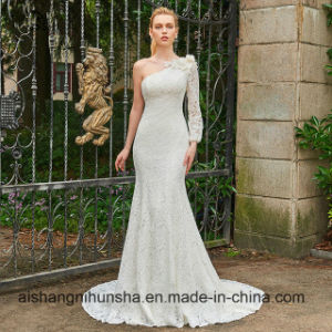 One Shoulder Long Sleeves Mermaid Bridal Gown pictures & photos