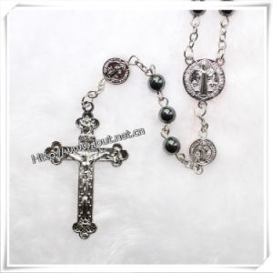 Small Black Papal Rosary with Genuine Hematite Rosary Beads (IO-cr027) pictures & photos