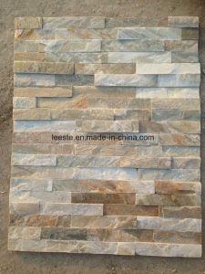 Chinese Wooden Yellow Slate Culture Stone Wall Cladding pictures & photos