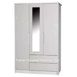 Paint Finish Wooden 3 Door Mirrored Combination Wardrobe (WB58) pictures & photos