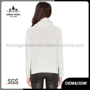 Sliver Matellic Coating Ribbed Long Sleeve Knitted Turtleneck Sweater pictures & photos