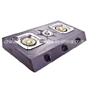 3 Burners Stainless Steel 710mm Length Iron Gloden Cap Gas Cooker/Gas Stove pictures & photos