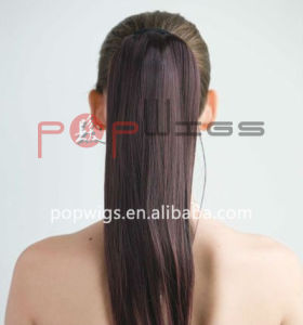 Full Human Hair Clip in Natural Color Loose Wave Ponytail Extension pictures & photos