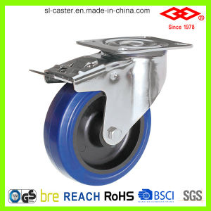 125mm Swivel Locking Elastic Rubber Caster Wheel (P104-23D125X36S) pictures & photos