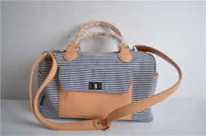 New Arrival Stripe Canvas Bowling Bags with Lock for Women pictures & photos