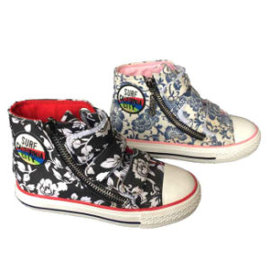 High Top Young Fashion Zipper up Colorful Kids Canvas Shoe pictures & photos