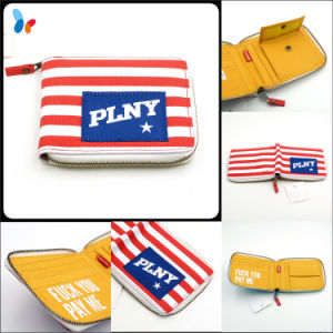 Custom Canvas Flag Wallet Fashion Stripes Wallet with Zipper pictures & photos