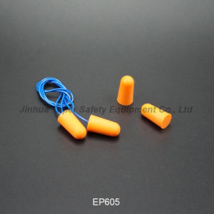 ANSI Approval Soft PU Foam Earplugs with Cord (EP605) pictures & photos