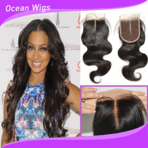 Middle Part Body Wave Indian Virgin Remy Hair Silk Top Lace Closure (CL-020) pictures & photos