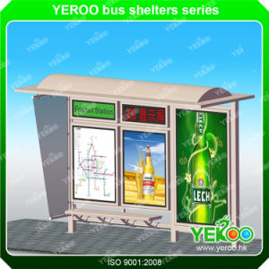Street Furniture Galvanized Steel Bus Stop Shelter with Bench and Double Faced Mupis pictures & photos