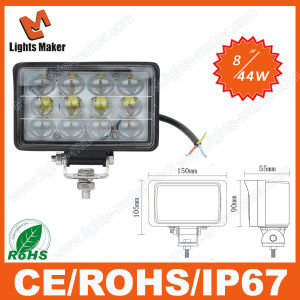 Round 44W Flood LED Work Light Superbright Car LED Headlight 6000k LED 30000 Hours Auto Lmap