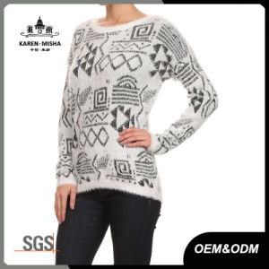 Women Round Neck Casual Abstract Pattern Jumper pictures & photos