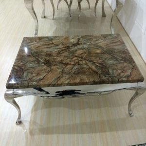 870# European Style Glass Coffee Table with Stainless Steel Leg pictures & photos