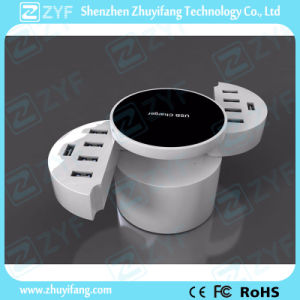 Smart Round Swivel 10 USB Port Home Wall Charger Adapter (ZYF9026)