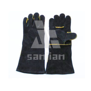 Black Split Leather Ab/Bc Grade Welding Safety Glove with CE pictures & photos