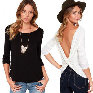 Fashion Deep V-Neck Sexy Blackless Cheap Women Long Sleeve T-Shirt pictures & photos
