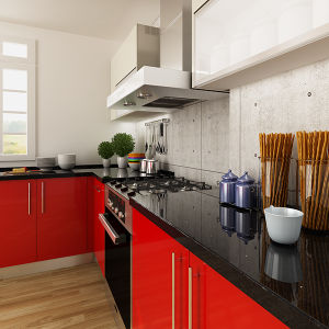 Modern L Shaped Red HPL Project Wood Kitchen Cabinets (OP14-HPL01) pictures & photos