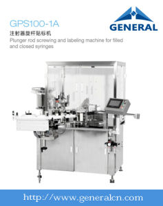 Plunger Rod Screwing and Labeling Machine for Filled and Closed Syringes