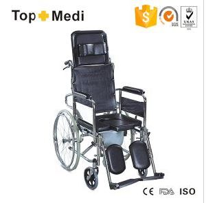 Topmedi Chromed Steel U Shape Seat Commode Wheelchair Tcm609gcu pictures & photos