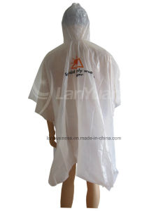 White PE Printed Poncho with Hood pictures & photos