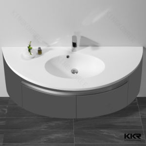 China Manufacturer Solid Surface Cabinet Bathroom Double Wash Basin pictures & photos