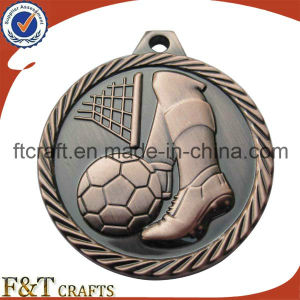 Antique Copper Plating Soccer Ball Medal with Untique Diamond Cut Edge pictures & photos