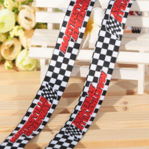 Black White Satin Plaid Ribbon with Your Logo Gift Packing pictures & photos
