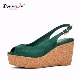 Suede Leather Shoes Women Laser Cork High Heels Platform Sandals pictures & photos