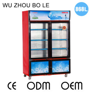Larger Volume Sliding Door Upright Freezer with Two Temperatures and Lockers