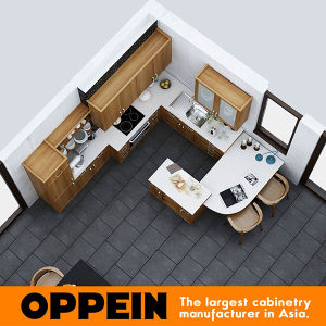 Oppein American Style Classic Wood Grain Kitchen Cabinets (OP16-HPL07) pictures & photos